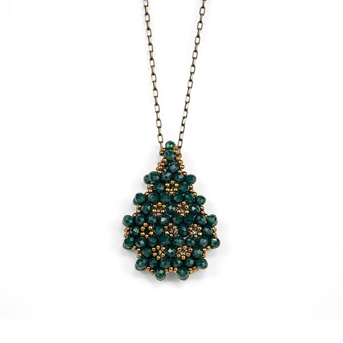 Perlenkette Cevsen (Wassertropfen - Grün)