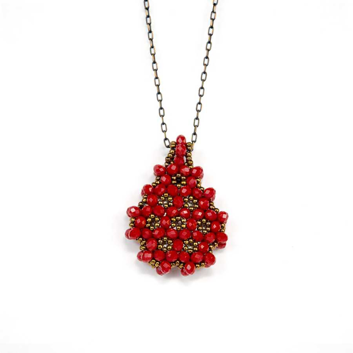 Perlenkette Cevsen (Wassertropfen - Rot)