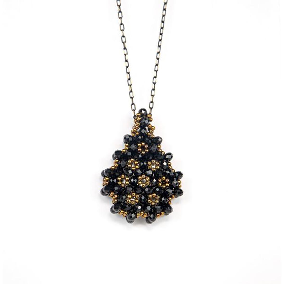Perlenkette Cevsen (Wassertropfen - Schwarz)